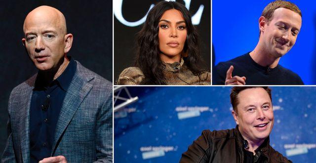 Jeff Bezos, Kim Kardashian, Mark Zuckerberg och Elon Musk.  TT