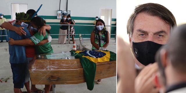 Människor sörjer i Manaus/Jair Bolsonaro på måndagen. TT