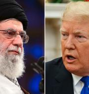 Ayatolla Ali Khamenei och president Donald Trump.  TT