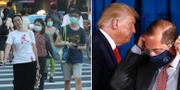 Människor i Taiwan/Donald Trump och Alex Azar. TT