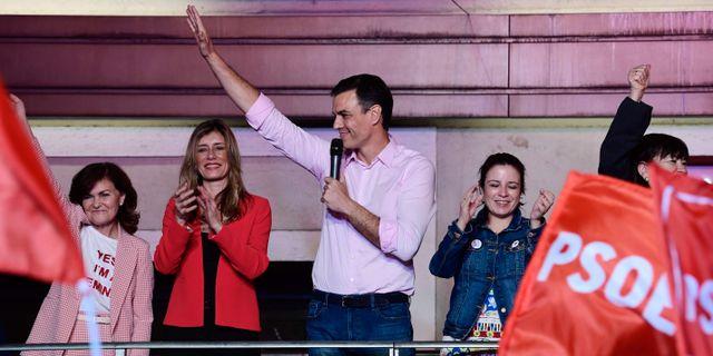 Pedro Sánchez på valkvällen. JAVIER SORIANO / AFP