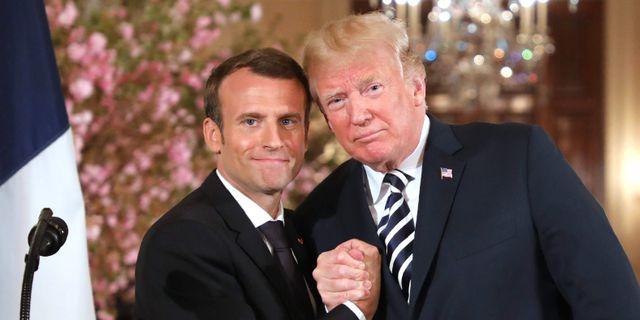 Emmanuel Macron och Donald Trump. LUDOVIC MARIN / AFP