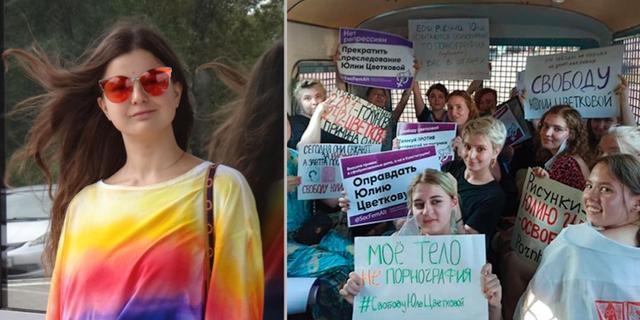 Julia Tsvetkova och en grupp aktivister som kräver att hon släpps. Yulia Tsvetkova/TT