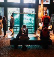 Kvinna med munskydd besöker Vasamuseet under första dagen sedan nedstängningen. Stina Stjernkvist/TT / TT NYHETSBYRÅN