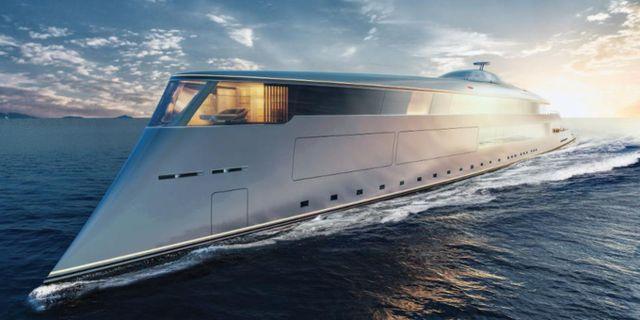 Så här ser den nya miljövänliga superyachten Aqua ut, men än ligger den bara på ritbordet. Sinot Yacht Architecture & Design 2019