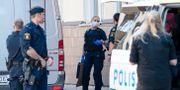 Polis arbetar på brottsplatsen i centrala Kristianstad  Johan Nilsson/TT / TT NYHETSBYRÅN