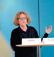 Eva Melander, smittskyddsläkare, under med onsdagens presskonferens. Johan Nilsson/TT / TT NYHETSBYRÅN