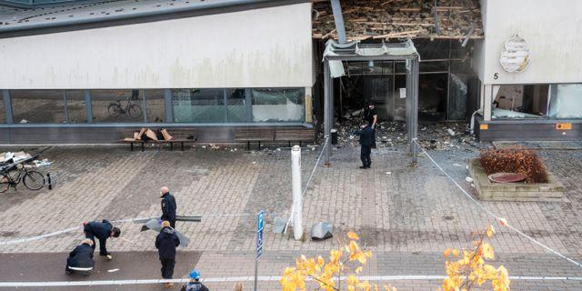 Polishuset i Helsingborg efter dådet. Johan Nilsson/TT / TT NYHETSBYRÅN