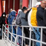 In this March 17, 2020, file photo, people wait in line for help with unemployment benefits at the One-Stop Career Center in Las Vegas. John Locher / TT NYHETSBYRÅN