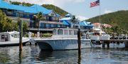 En av båtarna som brukade transportera resenärer till Jeffrey Epsteins ö i Karibien. MARCO BELLO / TT NYHETSBYRÅN