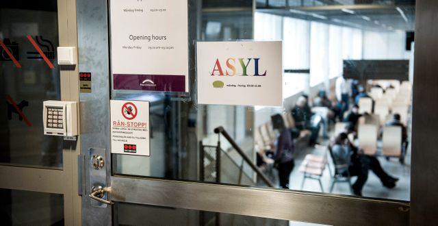 Väntsal för asylsökande på Migrationsverket. Marcus Ericsson/TT / TT NYHETSBYRÅN