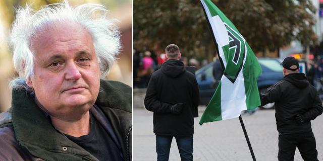 Göran Greider till vänster. Demonstranter från Nordiska motståndsrörelsen till höger.  TT