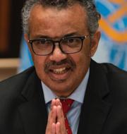 Kvinna i labb/WHO:s generaldirektör Tedros Adhanom Ghebreyesus. TT
