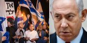 Israeliska protester pressar Netanyahu. TT