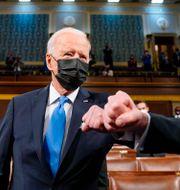 President Joe Biden efter talet till kongressen inatt. Melina Mara / TT NYHETSBYRÅN