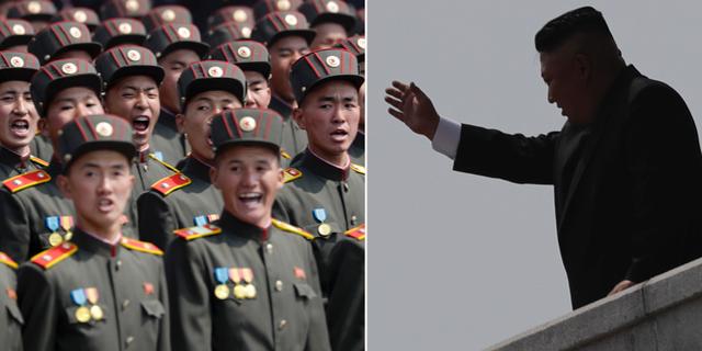 Nordkoreanska trupper under militärparad/Kim Jong-Un. TT