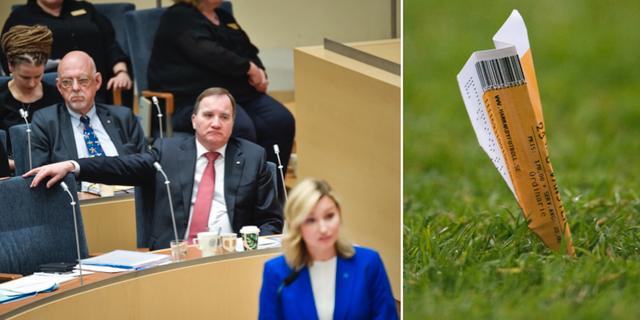 Stefan Löfven ser på när Ebba Busch Thor talar i riksdagen. Ett pappersflygplan tillverkat av en matchbiljett. TT