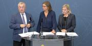 Finansminister Magdalena Andersson, Sven-Erik Bucht och klimatminister Isabella Lövin. Regeringen