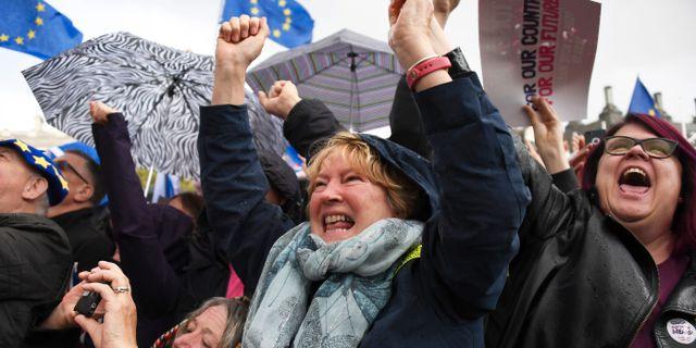 Brexitmotståndare i London jublar. Alberto Pezzali / TT NYHETSBYRÅN