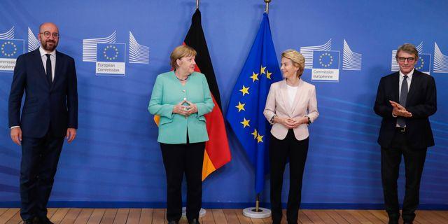 Charles Michel, Angela Merkel, Ursula von der Leyen and David Sassoli. Stephanie Lecocq / TT NYHETSBYRÅN