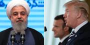 Hassan Rouhani, Emmanuel Macron och Donald trump.  TT