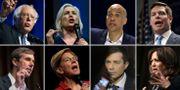 Medurs från vänster: Bernie Sanders, Kirsten Gillibrand, Cory Booker, Eric Swalwell, Kamala Harris, Pete Buttigieg, Elisabeth Warren, Beto O'Rourke.  TT / AFP / AP / Reuters