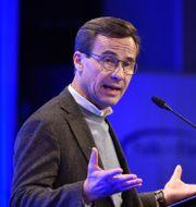 Ulf Kristersson talar på Folk och försvar. Henrik Montgomery/TT / TT NYHETSBYRÅN