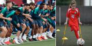 Tottenhamspelare under uppvärmning på Wanda Metropolitano-stadion i Madrid/Keeley Cerretti TT/AMPUTEE FOOTBALL ASSOCIATION SCOTLAND