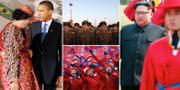 Muammar al-Gaddafi och Barack Obama, G8-mötet i L'Aquila i Italien, 2009/bilder från Nordkorea/Kim Jong-Un. TT