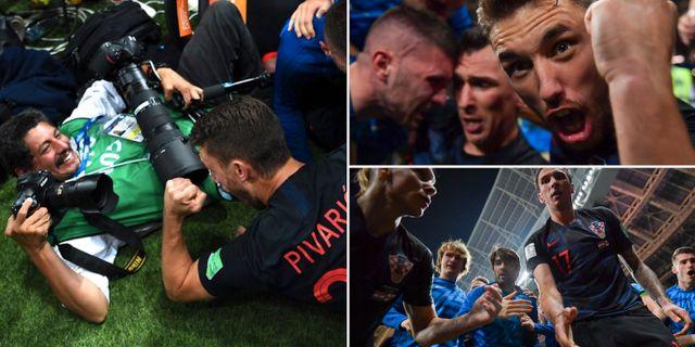 Yuri Cortez får kroatiska spelare över sig och tar bilderna till höger. TT