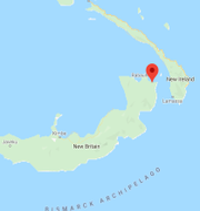 Skalvet inträffade vid Kokopo Google maps
