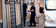 Polis vid brottsplatsen i Kristianstad under måndagen. Johan Nilsson/TT / TT NYHETSBYRÅN
