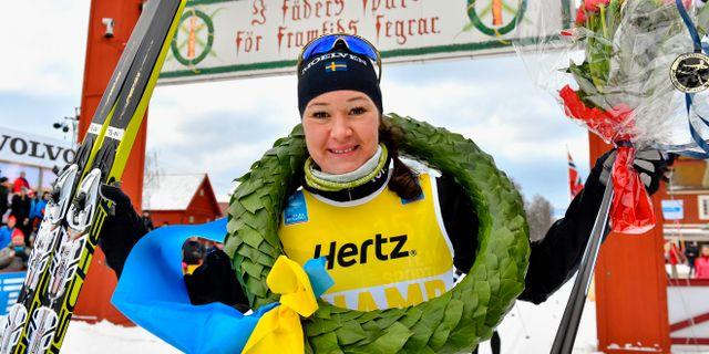 Vasaloppsvinnaren Britta Johansson Norgren. NISSE SCHMIDT / BILDBYRÅN