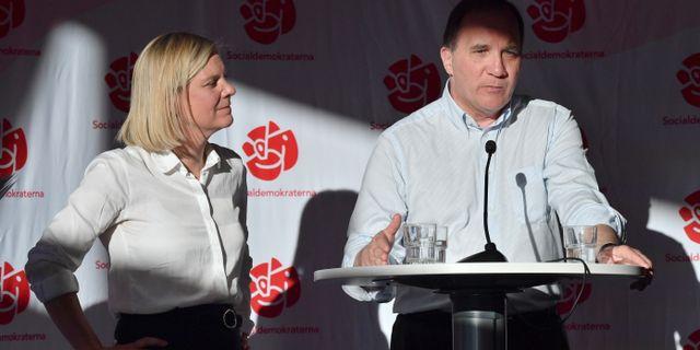 Magdalena Andersson och Stefan Löfven (S) Johan Nilsson/TT / TT NYHETSBYRÅN