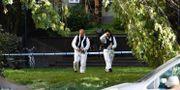 Polisens tekniker under söker området bakom polisavspärrningar på Norr Mälarstrand på Kungsholmen i Stockholm. Pontus Lundahl/TT / TT NYHETSBYRÅN