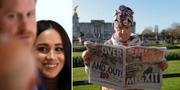 """Meghan Markle och prins Harry/löpsedlarna har haft fokus på """"Megxit"""" snarare än brexit. TT"""