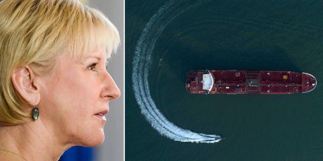 Margot Wallström (S)/Beslagtagna fartyget. TT