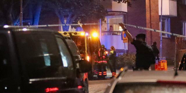 Polisen i arbete efter en av skjutningarna.  Claus Meyer/TT / TT NYHETSBYRÅN