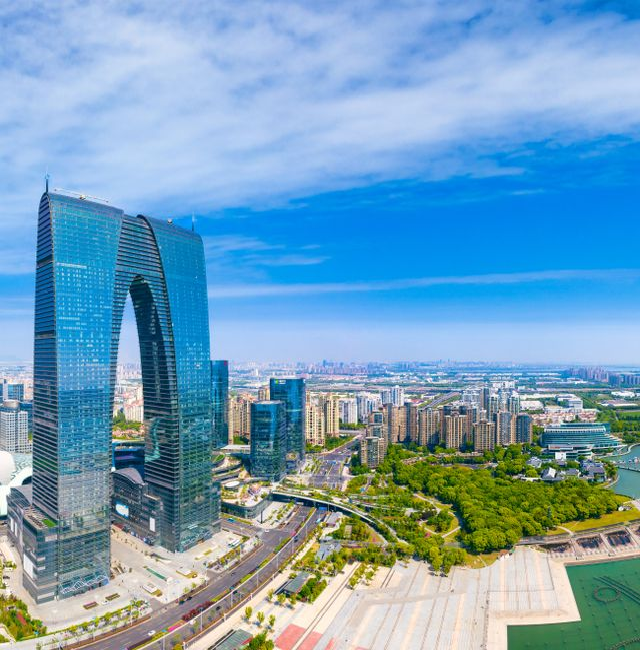 May 22, 2020:Cityscape of CBD in Suzhou Industrial Park, Jiangsu Province, China Shutterstock
