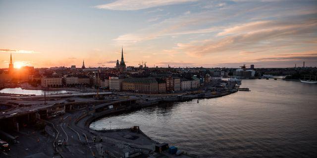 Slussen och Gamla Stan i Stockholm i solnedgång. Vilhelm Stokstad/TT / TT NYHETSBYRÅN