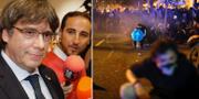 Puigdemont (tv), arkivbild/protesterna i Barcelona i dagarna. TT