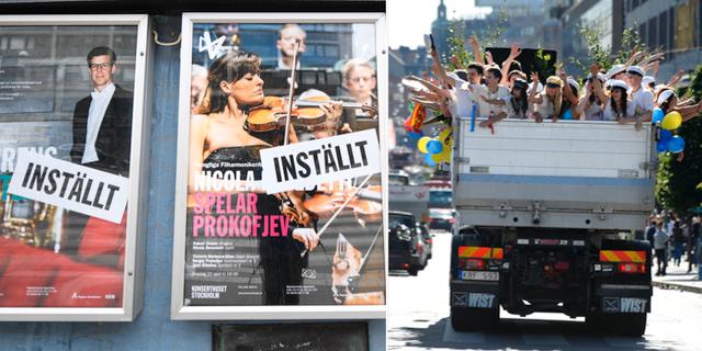 Affischer för inställda konserter/Studentflak. TT