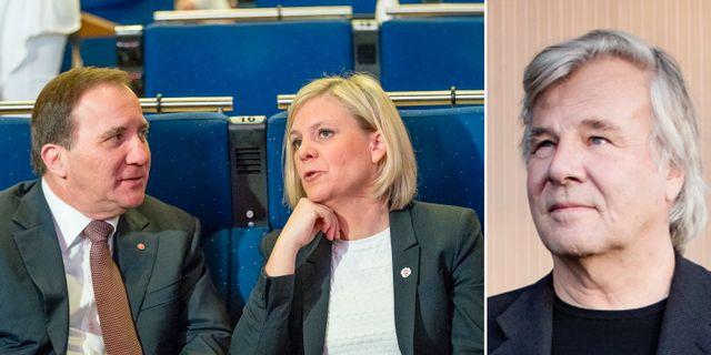 Stefan Klfven och Magdalena Andersson, Jan Guillou. arkivbilder. TT