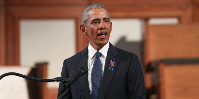 Obama idag på John Lewis begravning Alyssa Pointer / TT NYHETSBYRÅN