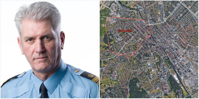 Mikael Hedström, presstalesperson på polisregion Mitt/Området Luthagen där flera av överfallen skett. Polisen/Frank Werle samt Google Maps