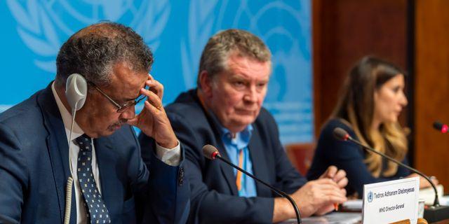 Arkivbild: WHO-chefen Tedros Adhanom Ghebreyesus tillsammans med sina kollegor Michael Ryan och Maria van Kerkhove Martial Trezzini / TT NYHETSBYRÅN