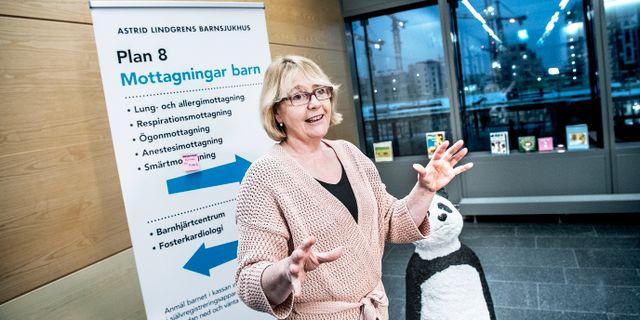 Finanslandstingsrådet Irene Svenonius (M) på NKS, Nya Karolinska sjukhuset. Tomas Oneborg/SvD/TT / TT NYHETSBYRÅN