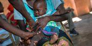Illustrationsbild från pilotprogrammet. Invånare i staden Tomali i Malawi vaccineras. Jerome Delay/TT