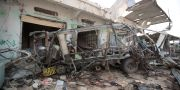 En buss som förstörst en av den saudiledda koalitionens flygattacker i staden Saada i Jemen Hani Mohammed / TT NYHETSBYRÅN/ NTB Scanpix