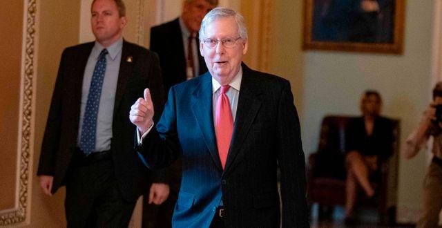 Senatens majoritetsledare Mitch McConnell efter omröstningen.  ALEX EDELMAN / TT NYHETSBYRÅN